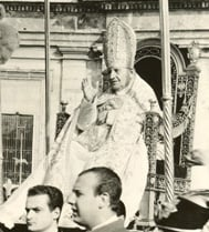 Pope John XXIII is carried on a papal throne to the opening session of the Second Vatican Council in 1962. Religion News Service file photo