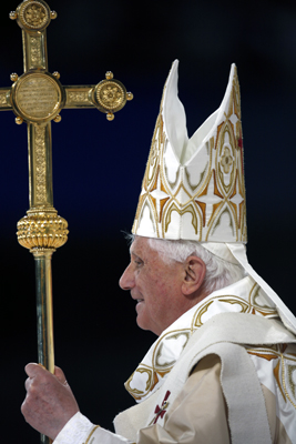 Pope Benedict XVI standing near the end of the Papal mass at Yankee Stadium. (Photo by Hilton Flores)