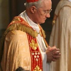 Cardinal Marc Ouellet of Quebec prays in the chapel of Immaculate Conception Seminary in Huntington, N.Y., during his visit to the seminary in 2007. RNS photo by Gregory A. Shemitz.