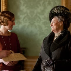 Shown left to right: Elizabeth McGovern as Lady Cora, Laura Carmichael as Lady Edith, Dame Maggie Smith as Lady Violet. RNS photo courtesy of © Carnival Film & Television Limited 2012 for MASTERPIECE.