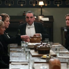 In the Servants' Hall with Joanne Froggatt as Anna, Rob James-Collier as Thomas, Phyllis Logan as Mrs Hughes, Jim Carter as Carson, Siobhan Finneran as Sarah O'Brien, Kevin Doyle as Molesley. RNS photo courtesy of © Carnival Film & Television Limited 2012 for MASTERPIECE.