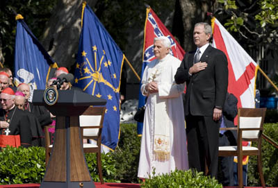 President Bush welcomed Pope Benedict XVI to the White House on Wednesday (April 16). Benedict is only the second pope to visit the White House.  Religion News Service photo by Kristoffer Tripplaar.