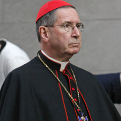 Cardinal Roger M. Mahony of Los Angeles stands outside St. Joseph's Church in New York following an ecumenical prayer service presided over by Pope Benedict XVI in 2008. (RNS photo by Gregory A. Shemitz)