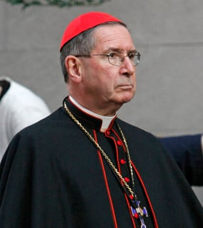 Cardinal Roger M. Mahony of Los Angeles stands outside St. Joseph's Church in New York following an ecumenical prayer service presided over by Pope Benedict XVI in 2008. Photo by Gregory A. Shemitz
