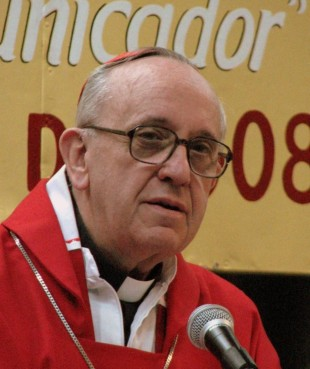 Cardinal Jorge M. Bergoglio, now Pope Francis, celebrating mass at the XX Exposición del Libro Católico (20th Catholic Book Fair) in Buenos Aires, Argentina.  (2008)  Photo courtesy Aibdescalzo via Wikimedia Commons (http://bit.ly/10Of6ve)
