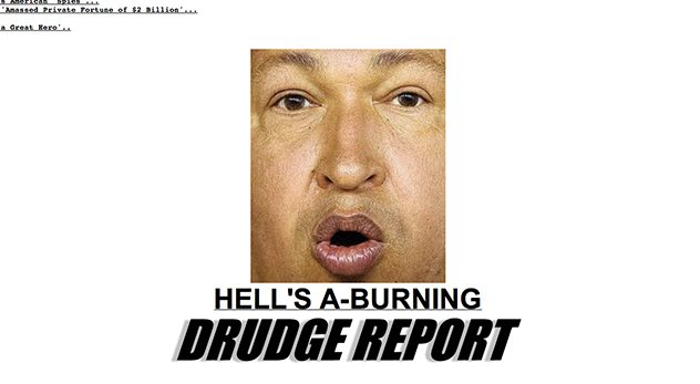 Screen shot of Drudge Report homepage taken on March 6, 2013 at 12:08 am.