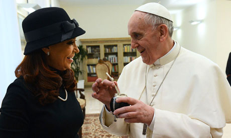 Pope Francis and Argentine President Cristina Fernández de Kirchner. The two clashed over Argentina's same-sex marriage law in 2010. Photograph: Handout/Reuters. From: The Guardian.
