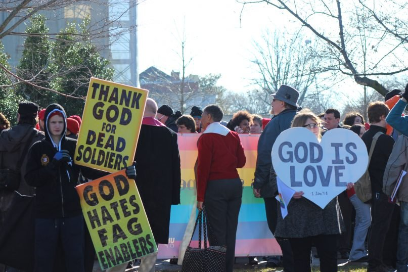 same sex marriage picket signs protest in Norwalk