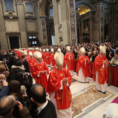 Before the opening of the conclave today, March 12, cardinals attend a solemn Mass at St. Peter's. Photo Courtesy of BostonCatholic via Flickr.