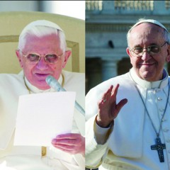 (Left) Pope Benedict photo by Gregory A. Shemitz, (right) Pope Francis photo by Andrea Sabbadini.