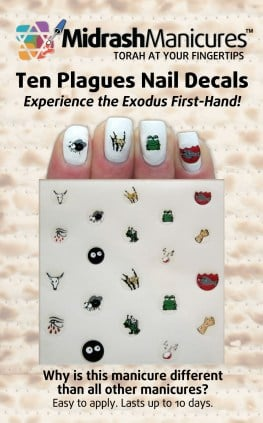 a photo of four nails with Ten Plagues decals