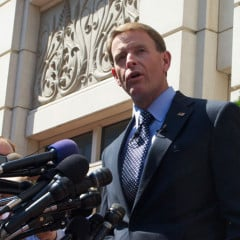 Family Research Council president Tony Perkins speaks outside the Family Research Council Headquarters at 801 G Street, Washington, D.C. August 16. RNS photo by Chris Lisee