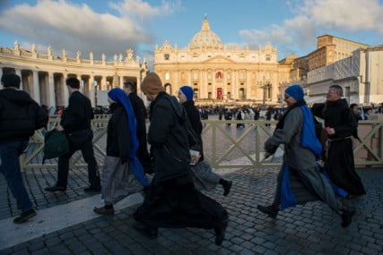 Priests and nuns arrive at the inauguration Mass of Pope Francis at St. Peter's square on Tuesday (March 19) at the Vatican. RNS photo by Andrea Sabbadini