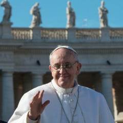 Pope Francis waves to the crowd in St. Peter's Square on Tuesday (March 19) at the Vatican. RNS photo by Andrea Sabbadini