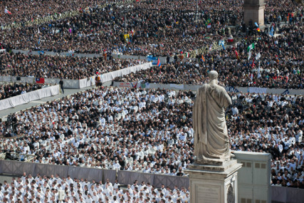 St. Peter's Square during Pope Francis' inaugural Mass on Tuesday (March 19) at the Vatican. RNS photo by Andrea Sabbadini