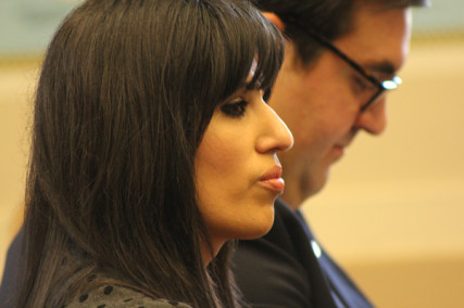 Naghmeh Abedini, wife of imprisoned Iranian-American minister Saeed Abedini, at Capitol Hill hearing on religious minorities in Iran on March 15, 2013. Behind her is her lawyer, Jordan Sekulow, executive director of the American Center for Law and Justice. RNS photo by Adelle M. Banks