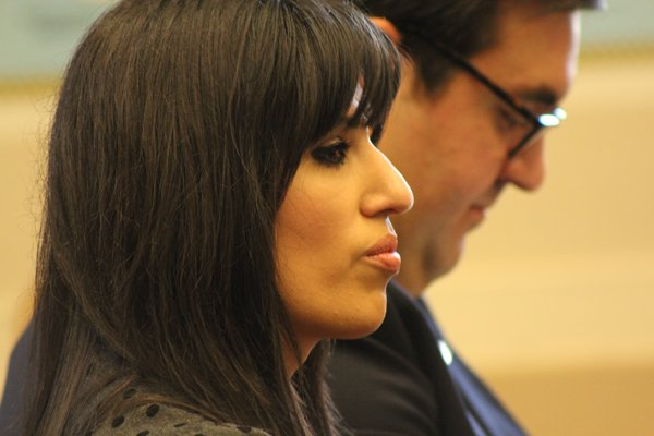 Naghmeh Abedini, wife of imprisoned Iranian-American minister Saeed Abedini, shown here at Capitol Hill , is unhappy U.S.-Iran nuclear deal overlooked freeing her husband. RNS photo by Adelle M. Banks