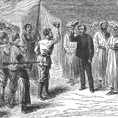 An 1876 illustration of Henry Morton Stanley meeting David Livingstone in Africa.  Photo courtesy Wikimedia Commons