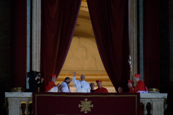 Newly elected Pope Francis appears on the central balcony of St. Peter's Basilica on March 13, 2013 in Vatican City. RNS photo by Andrea Sabbadini