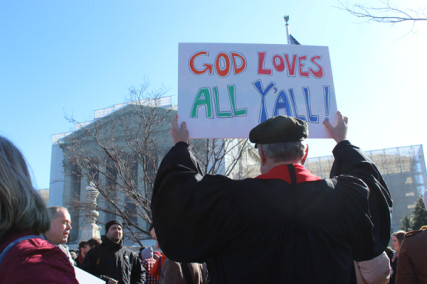 A Baptist minister from Virginia shares his support for same-sex marriage outside the Supreme Court on March 26, 2013. Throngs of supporters and opponents gathered outside the high court as it considered cases about same-sex marriage. RNS photo by Adelle M. Banks