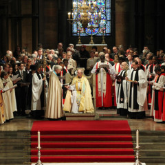 Justin Welby (center), the 57-year old former oil executive who quit the world of high finance in 1992 to become a priest, was enthroned Thursday (March 21) as the 105th archbishop of Canterbury and spiritual leader of the world's 77 million Anglicans. Photo courtesy Anglican Communion News Service/The Press Association