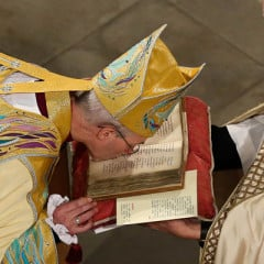 Justin Welby, the 57-year old former oil executive who quit the world of high finance in 1992 to become a priest, was enthroned Thursday (March 21) as the 105th archbishop of Canterbury and spiritual leader of the world's 77 million Anglicans. Photo courtesy Anglican Communion News Service/The Press Association