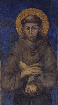 Detail of St. Francis of Assisi from ``Madonna Enthroned with the Child, St. Francis and four Angels,'' a fresco executed by Giovanni Cimabue between 1278-80 for the lower church of St. Francis Basilica in Assisi, Italy. RNS file photo courtesy of the Custodian of St. Francis Basilica in Assisi.