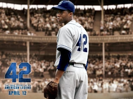 A new film about Jackie Robinson, titled 42 — the number he wore during his historic career — tells the triumphant story of how the Civil Rights icon integrated professional baseball by playing for the Brooklyn Dodgers. Photo courtesy http://42movie.warnerbros.com