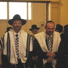 "Rabbi Gilles Bernheim (left) offered his apologies for ""borrowing"" the work of others and lying about his academic credentials, ending a leadership crisis that has rocked the country's 600,000-strong Jewish community, the largest in Europe. Bernheim is pictured here with Rabbi Michael Azoulay. Photo courtesy Olevy via Wikimedia Commons (http://bit.ly/17SKTMR)"
