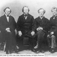 Brigham Young (second from left) and his brothers Lorenzo, Phineas, Joseph and John.  Photo courtesy Utah State History digital collection