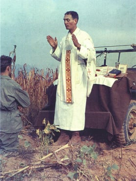 Fr. Kapaun on the field. Photo from the Diocese of Wichita, courtesy of Raymond Skeehan