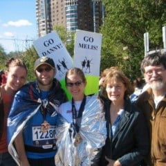 Daniel Burke (second from left) with his wife and family after a race. Photo courtesy Daniel Burke