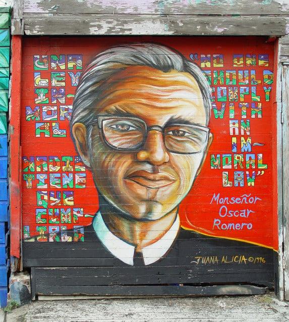 Mural of slain Salvadoran Archbishop Oscar Romero by Juana Alicia.