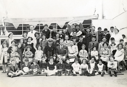50 CHILDREN: THE RESCUE MISSION OF MR. & MRS. KRAUS: On June 3, 1939 the USS President Harding sailed into New York Harbor with the Krauses and the 50 children aboard, all of whom would soon be settled with foster families, or, in some cases, with relatives. Photo courtesy HBO