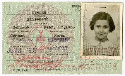 50 CHILDREN: THE RESCUE MISSION OF MR. & MRS. KRAUS: Elisabeth Zinger's immigration document. Photo courtesy HBO