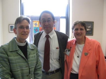 Boston Medical Center chaplains, from left: Jennie Gould, an Episcopal priest; Sam Lowe, a Quaker (Religious Society of Friends); and Sr. Maryanne Ruzzo of the Roman Catholic Archdiocese of Boston. Photo courtesy Jeff MacDonald
