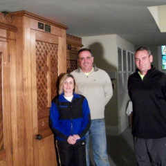 Elisa and Patrick Knott, and Tim Conlon helped obtain the new confessional at St. Mary the Immaculate Conception Church in Derby, Conn. RNS photo by Ann Marie Somma/Hartford Faith & Values
