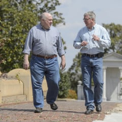 """Bob Duvall, left and Mark LaRocca-Pitts helped facilitate a """"Death Cafe"""" held at the Oakland Cemetery in Atlanta. Photo by Michael  A. Schwarz, USA TODAY"""