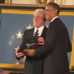 President Obama presents the Medal of Honor on Thursday (April 11) to Ray Kapaun, Emil Kapaun's nephew. RNS photo by Caleb Bell