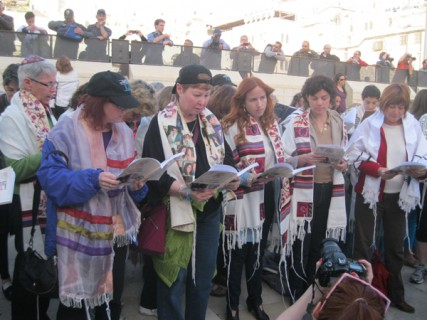 Members of Women of the Wall, a group of Reform, Conservative and modern-Orthodox women, have been praying at the Western Wall for more than two decades despite objections from the ultra-Orthodox religious establishment, which has attempted to put further restrictions on the women's prayer options. RNS photo by Michele Chabin
