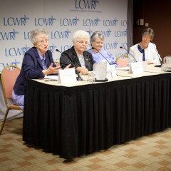 From left, Sister Helen Garvey, Sister Marlene Weisenbeck, Sister Nancy Schreck and Sister Annmarie Sanders field questions from reporters during the Leadership Conference of Women Religious in St. Louis, Mo. on Friday, August 10, 2012. RNS photo by Sally Morrow