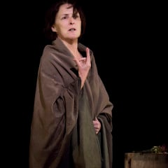 Fiona Shaw in a scene from The Testament of Mary by Colm Tóibín, directed by Deborah Warner.  Photo by Paul Kolnik/courtesy The Testament of Mary production