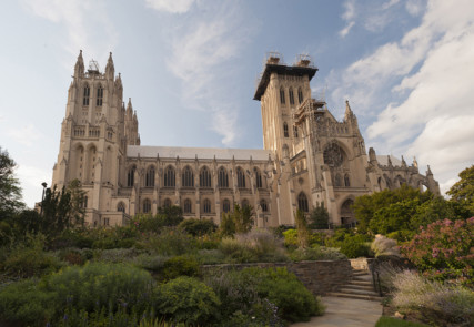The Washington National Cathedral's west center tympanum, bishop's garden, bishop's lawn, south side, south facade and central tower. (August 10, 2012) Photo by Craig Stapert courtesy Washington National Cathedral