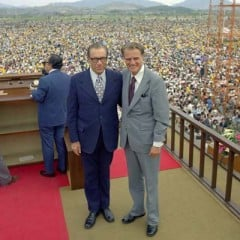 George Beverly Shea (left) and evangelist Billy Graham at the 1973 crusade in Seoul, South Korea, where an estimated 1.1 million people attended the final service. Religion News Service file photo courtesy of Russ Busby/The Billy Graham Evangelistic Association