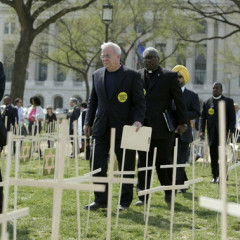 Religious leaders from around the United States, including Reverend Jim Wallis, President and CEO, Sojourners (2nd left) walk to the lectern to speak at a vigil on The Mall in Washington, DC, April 11, 2013 to commemorate the 3,300 lives lost to gun violence since the shootings in Newtown, CT and to call upon Congress to pass legislation to curb gun violence. Photo by Chris Kleponis/ Lifelines to Healing, PICO National Network/Sojourners