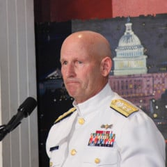 Rear Adm. William D. Lee of the U.S. Coast Guard warned of threats to faith within the military while speaking at National Day of Prayer observances on Capitol Hill. RNS photo by Adelle M. Banks