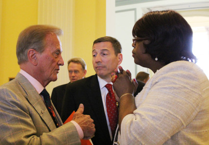 Singer Pat Boone (far left) and Suzan Johnson Cook, ambassador-at-large for international religious freedom, chat before the start of the National Day of Prayer observance on Capitol Hill on Thursday (May 2). The Rev. Rob Schenck, Washington evangelical leader, looks on. RNS photo by Adelle M. Banks