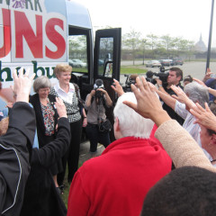 "Supporters pray during the ""Nuns on the Bus"" kick-off rally on Wednesday (May 29) at Liberty State Park in Jersey City, N.J. RNS photo by David Gibson"