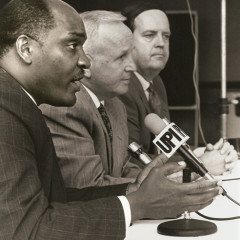 Gary Frost (left), Charles Carter (center) and Richard Land address the news media following the Southern Baptist Convention's adoption of a racial reconciliation resolution in 1995. Frost at the time was the SBC's second vice president and pastor of a predominantly black congregation in Youngstown, Ohio; Carter was chairman of the Resolutions Committee and a pastor in Birmingham, Ala.; Land continues to serve as president of the SBC's Ethics & Religious Liberty Commission. Photo by Van Payne/courtesy Baptist Press