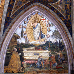 A Resurrection scene painted by the Renaissance master Pinturicchio was restored to reveal a small depiction of naked men with feathered headdresses who appear to be dancing. A man on horseback is also visible. Photo courtesy Vatican Museums